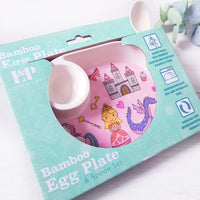 Princess egg plate and spoon set.