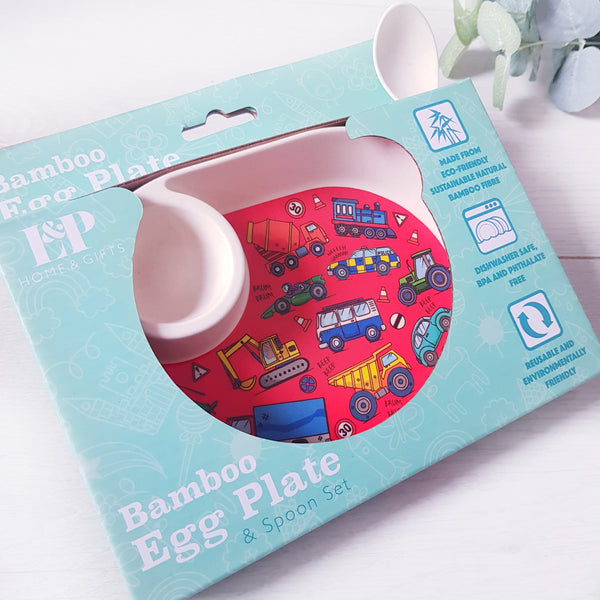 Digger egg plate and spoon set.