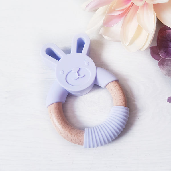 Silicone and Beech wood bunny teether - LILAC