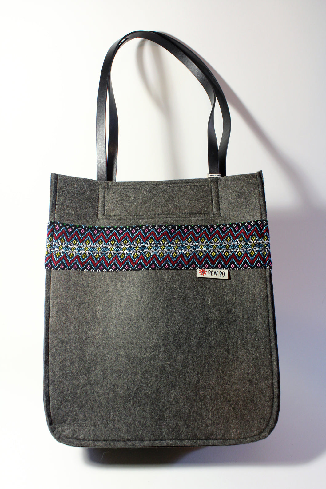 Dark Grey Felt Bag with Handwoven Fabric Accent