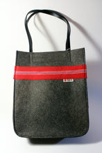 Load image into Gallery viewer, Dark Grey Felt Bag with Handwoven Fabric Accent
