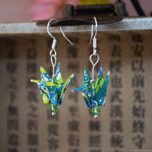 Load image into Gallery viewer, Folded Origami Crane Earrings - Cool Colours
