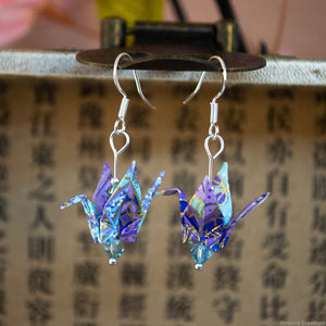 Folded Origami Crane Earrings - Cool Colours