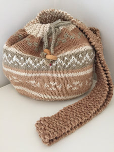 Hand-Knit Drawstring Bag