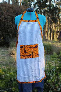 Large Apron with Ankara Cloth Pocket & Details
