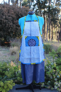 Small Adult Recycled Acid-Wash Denim Apron with Ankara Cloth Details
