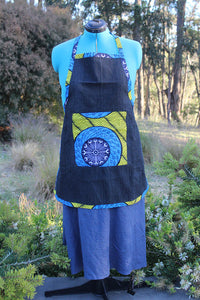 Medium Denim Apron with Ankara Cloth Details