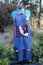 Load image into Gallery viewer, Medium Denim Apron with Ankara Cloth Details