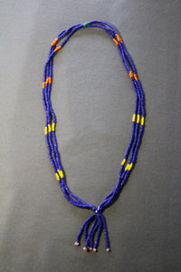 Special Large Blue Multi-Strand Necklace with Tassle