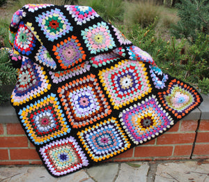 Hand-Crochet Multi-Colour Granny Square Lap Rug