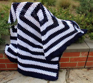 Hand-Crochet Dark Navy and White Granny-Square Lap Rug