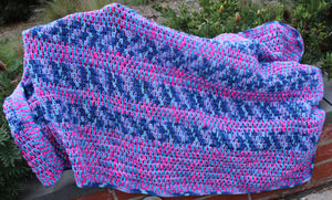 Hand-Crochet Pink and Blue Lap Rug