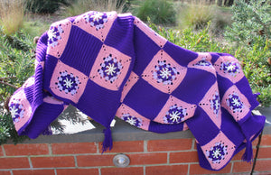 Hand-Crochet Pink and Purple Granny Square Lap Rug