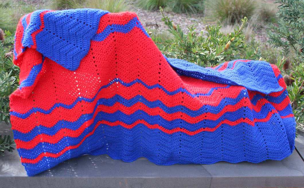 Hand Crochet Red and Blue Lap Rug