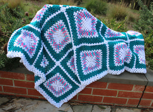 Hand-Crochet Teal and Pink Granny Square Lap Rug