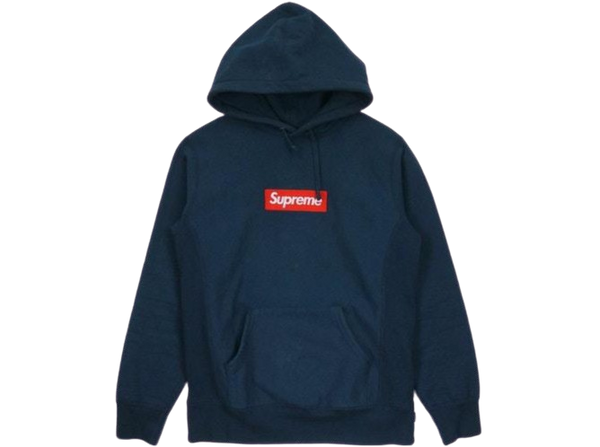 Supreme Box Logo Hoodie Red on Navy (FW16)