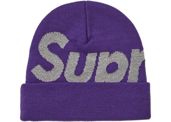 Supreme Big Logo Reflective Beanie Purple