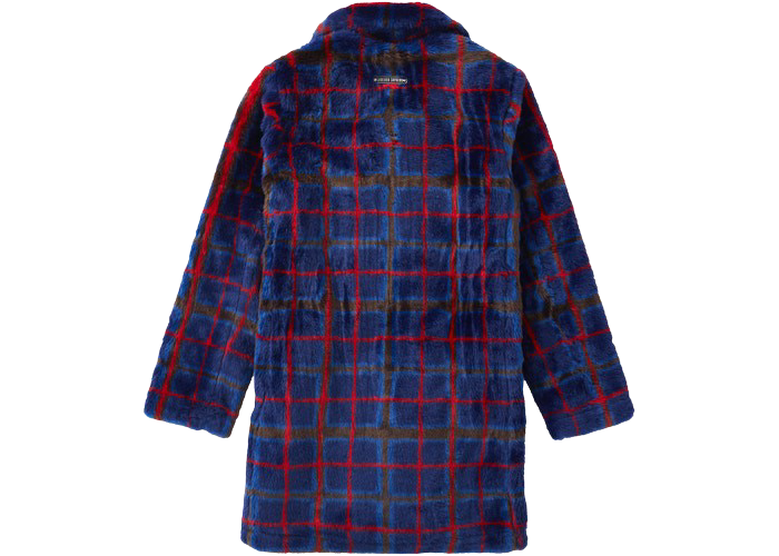 Supreme Jean Paul Gaultier Double Breasted Plaid Faux Fur Coat Blue