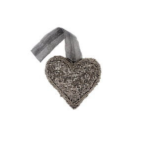 Charcoal Grey Sequin Heart Ornament