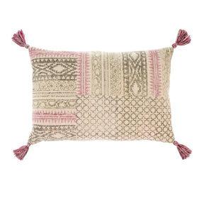 Rosa Block Pillow with Pinks & Olive