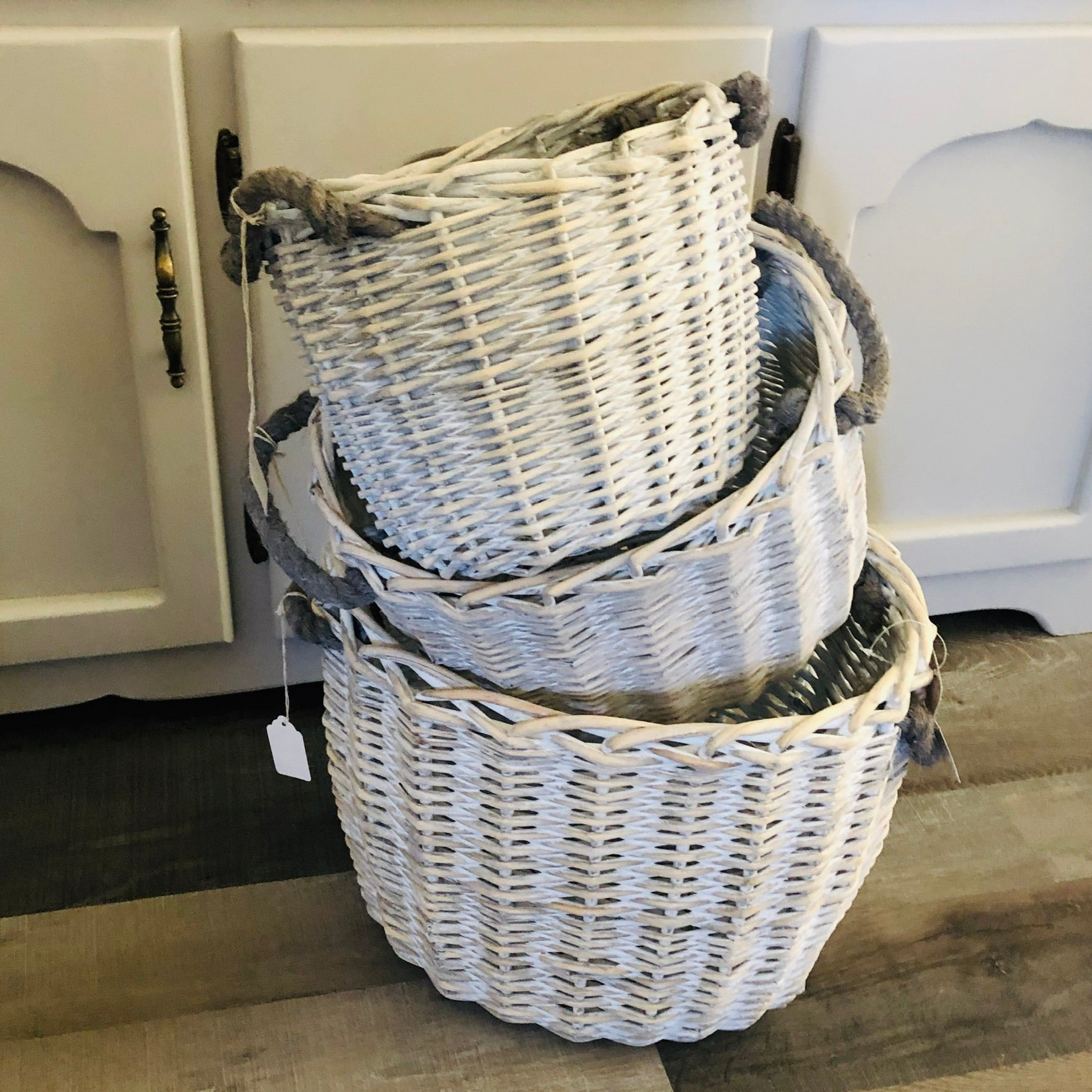 White Washed Wicker Baskets