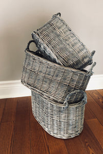 Grey Washed Oval Wicker Baskets