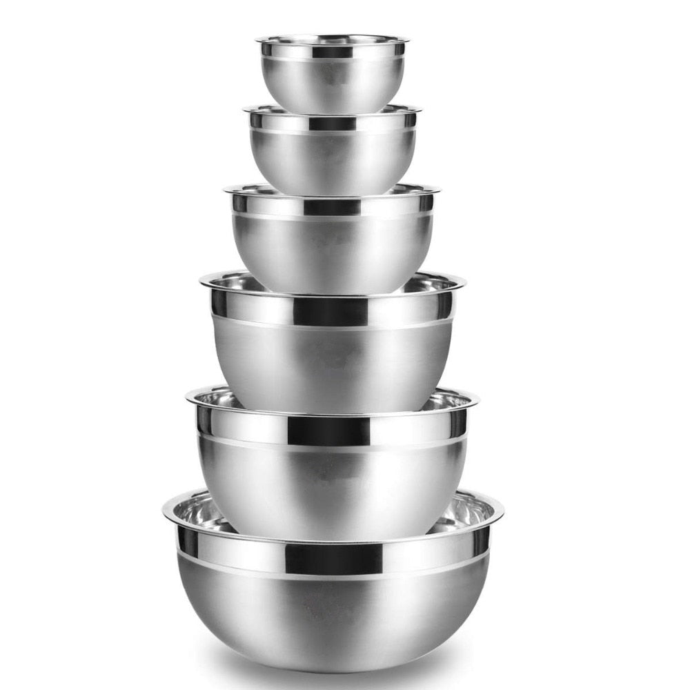 LMETJMA Stainless Steel Mixing Bowls (Set of 6)