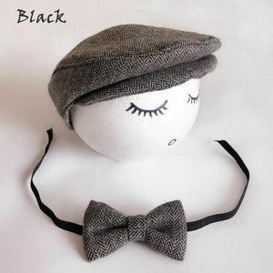 Photo Props Baby Boys Beret Hat + Bow Tie Set
