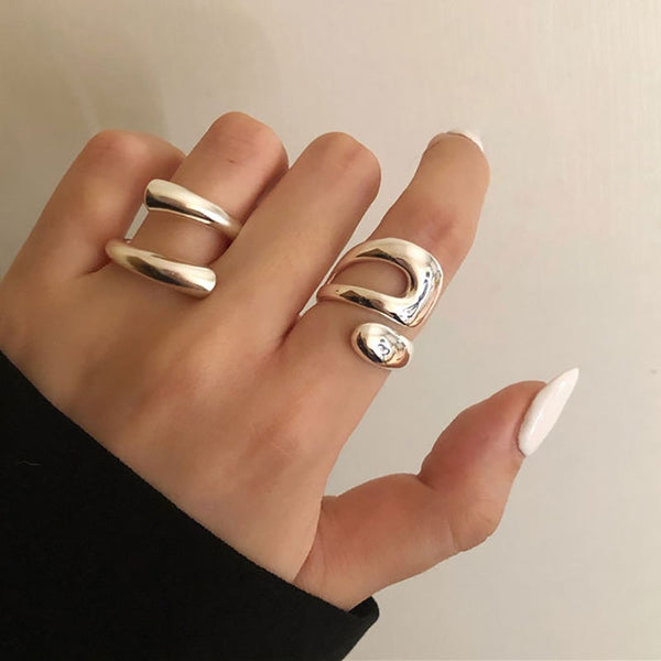 Minimalist Silver Open Adjustable Rings