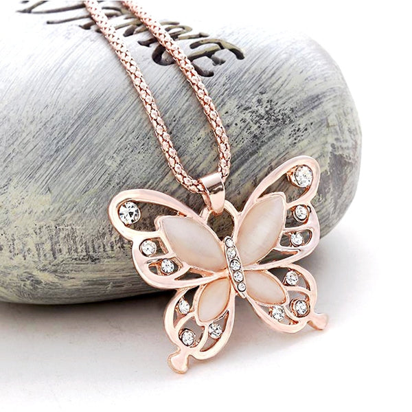 Rose Gold Opal Butterfly Pendant