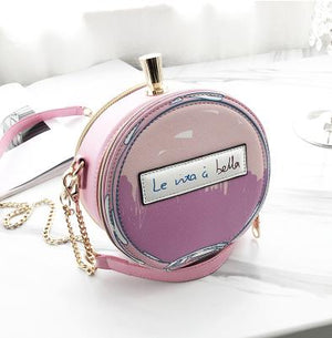Round Letter Printed Perfume Bottle Chain Purse
