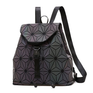 Luminous Geometric Plaid Sequin Backpacks For Teenagers