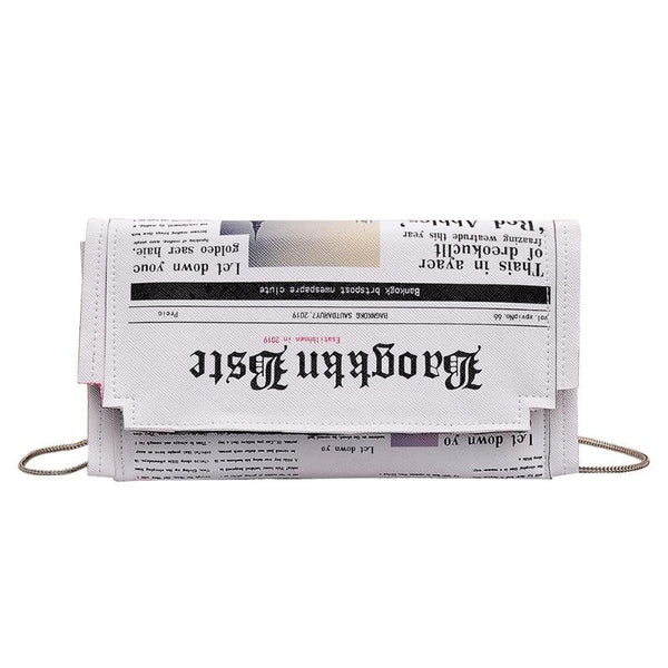 Newspaper Print Design Crossbody Messenger Bag