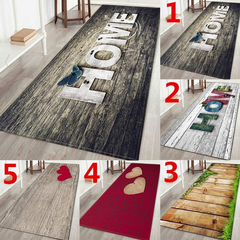 "WUJIE Fashion ""Home"" Printed Wood Pattern Floor Rug for Living Room Washable Bedroom Mat Home Decor Kitchen Carpet Welcome Mat"
