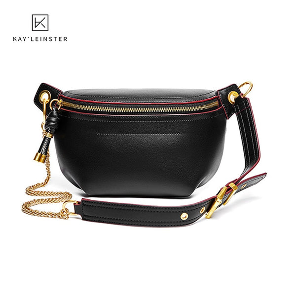 100% Genuine Leather Women Waist Bags