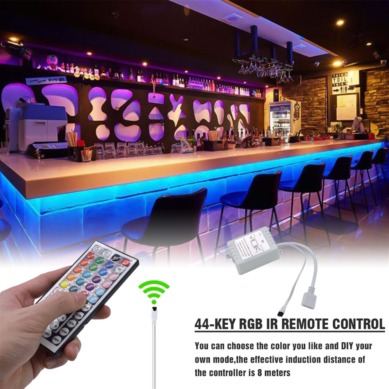 150-LED SMD3528 24W RGB IR44 Light Strip Set with IR Remote Controller (White Lamp Plate)