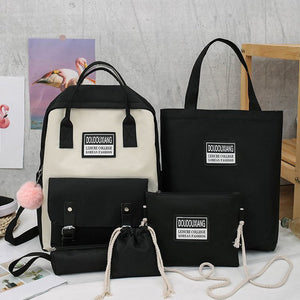 5 Piece Set High School Bags
