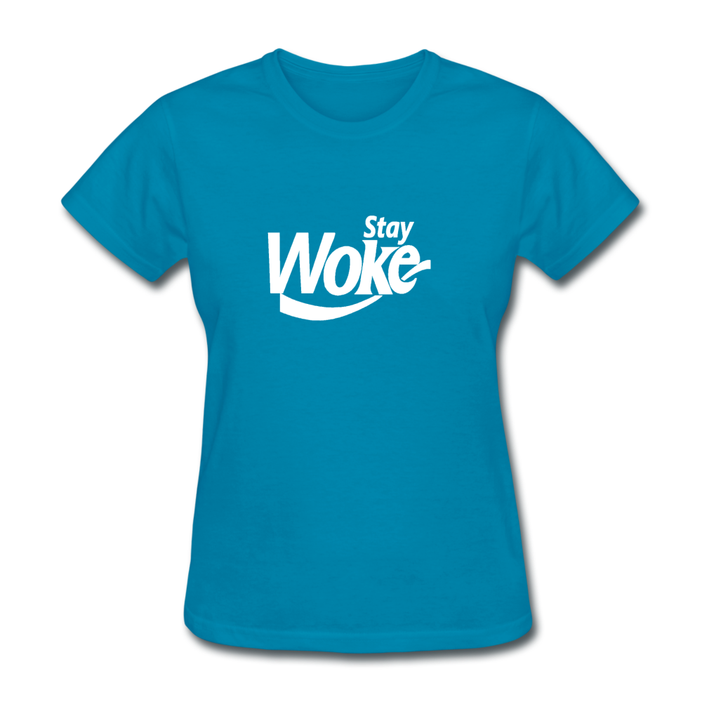 Women's Stay Woke T-Shirt - turquoise