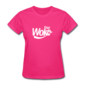 Women's Stay Woke T-Shirt - fuchsia