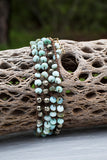 Peruvian opal and pyrite wrap bracelet