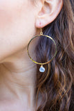 Moonstone wire wrap hoops