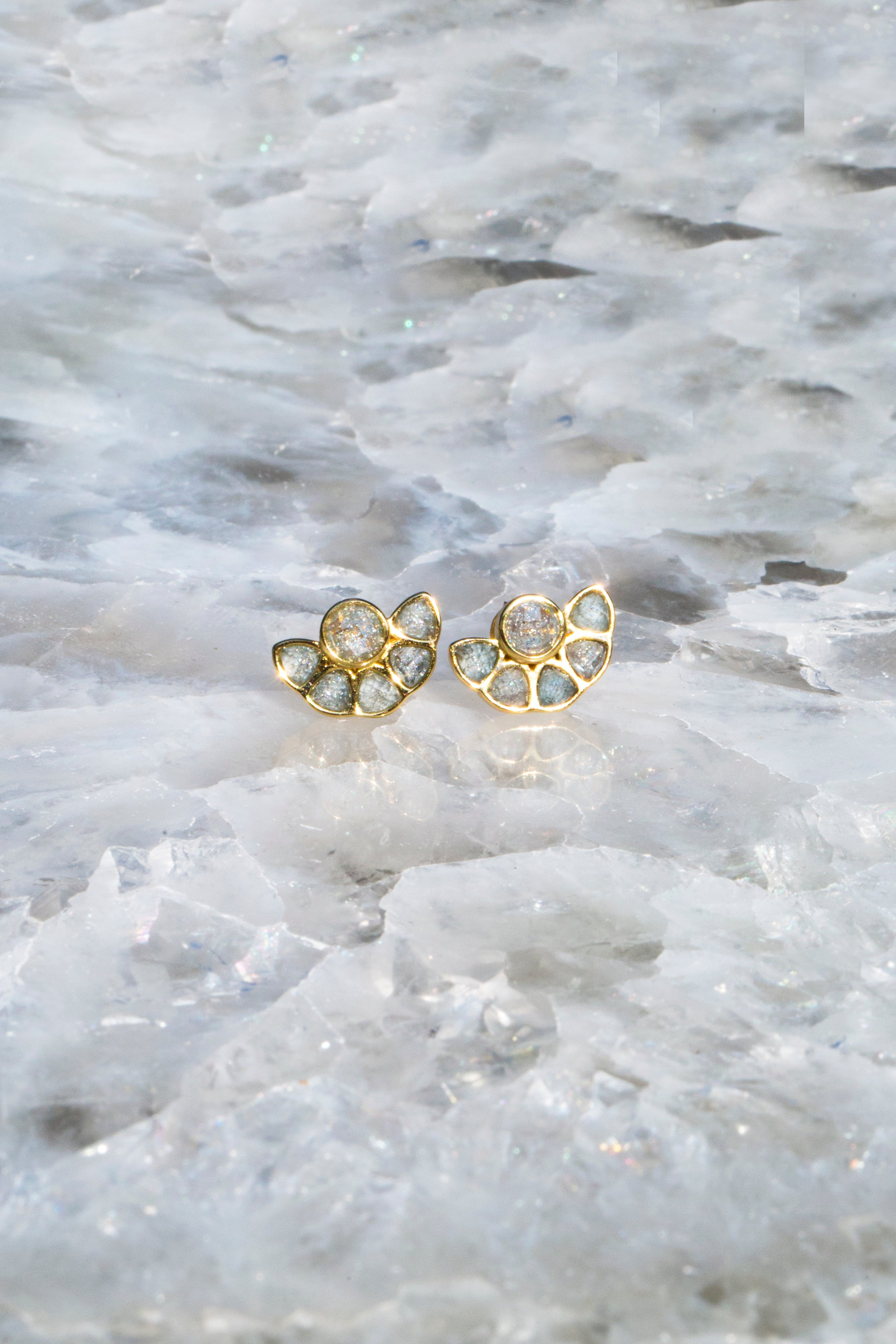 Multi stone deco stud earrings