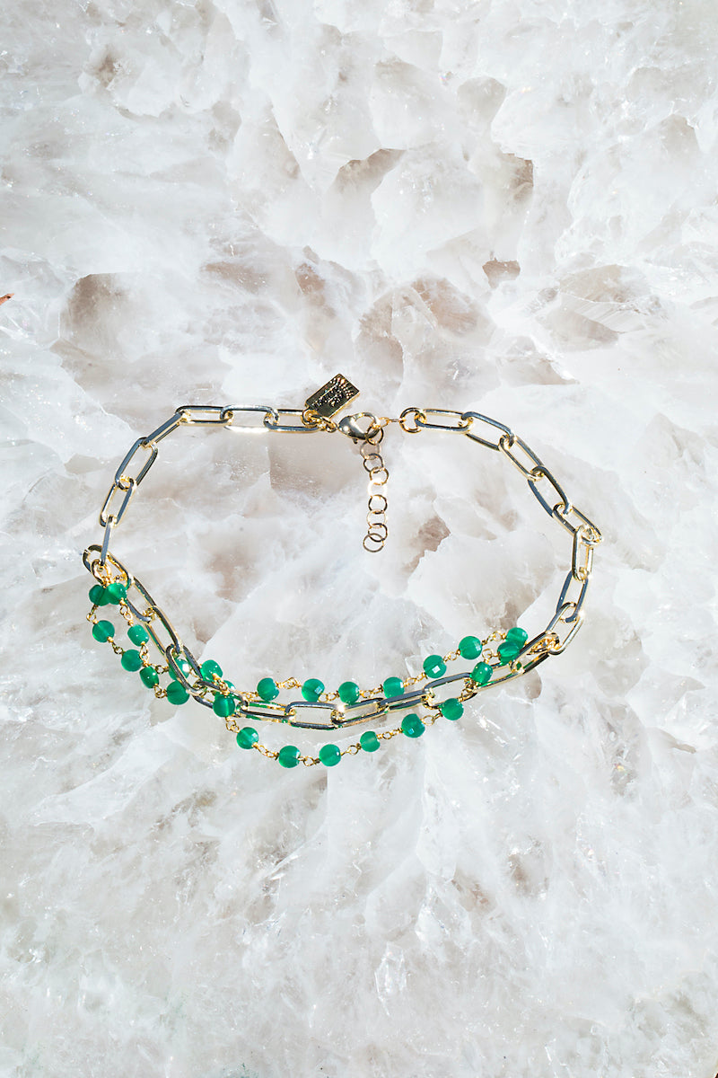 CASCADE GREEN ONYX anklet