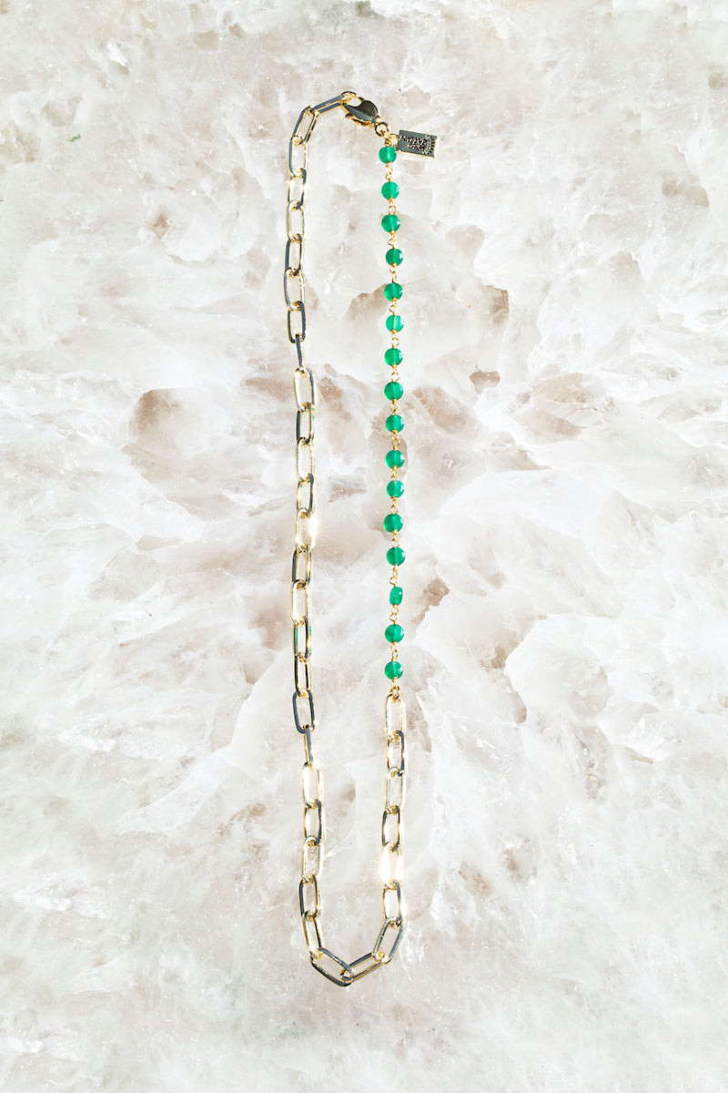 GIA CHAIN Necklace in green onyx