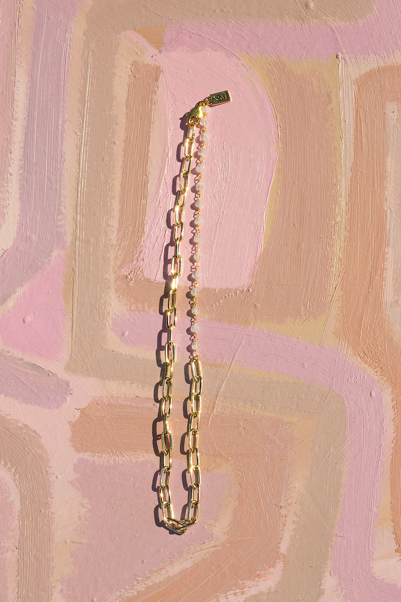 GIA CHAIN Necklace in rainbow moonstone