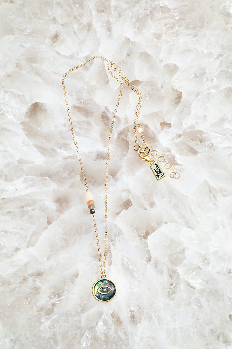 NOOR Abalone evil eye necklace