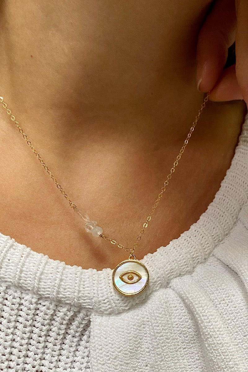 NOOR mother of pearl evil eye necklace