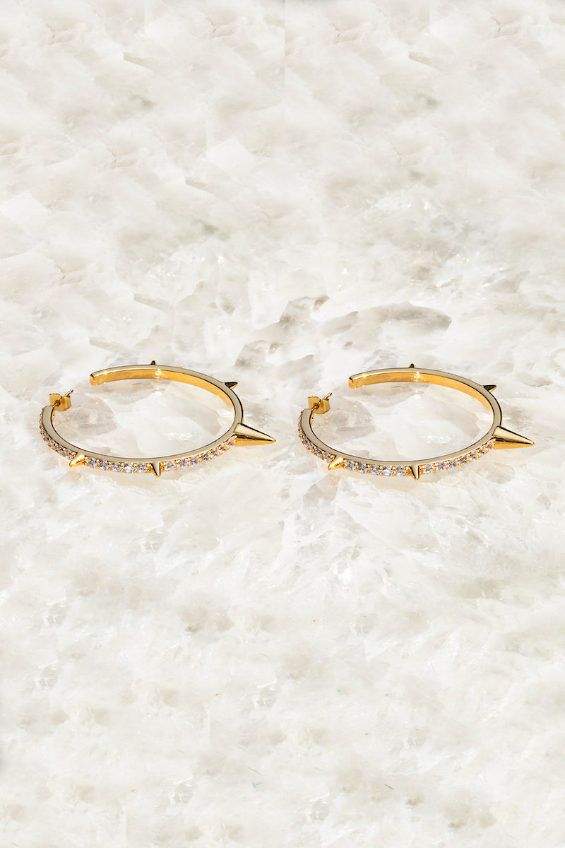 SPIKED HOOP earrings in 14K gold vermeil