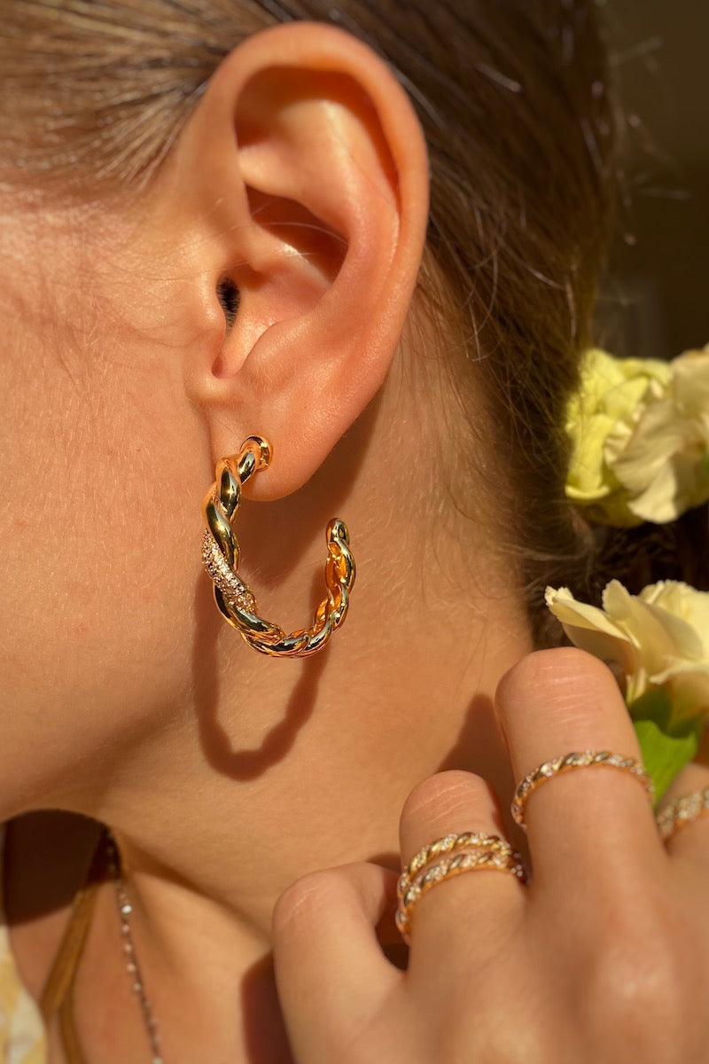 TRENZA Hoops in 14K gold vermeil