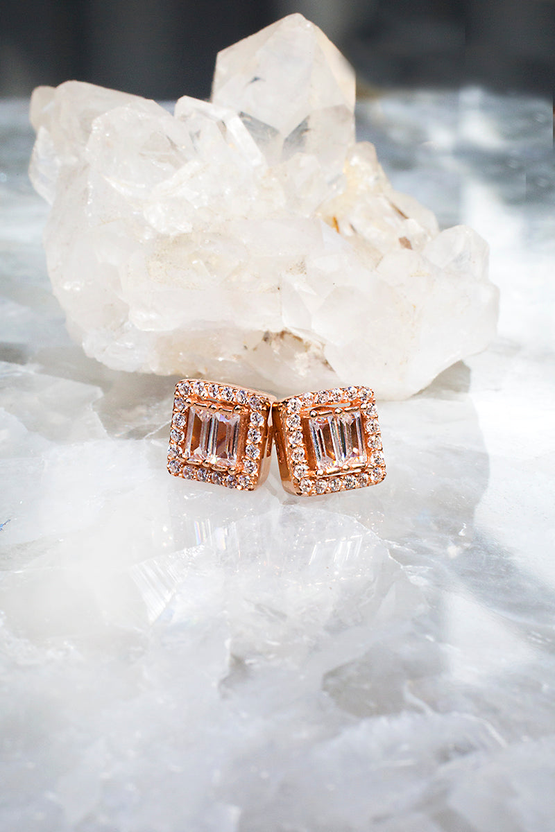 Rose gold art deco stud earrings